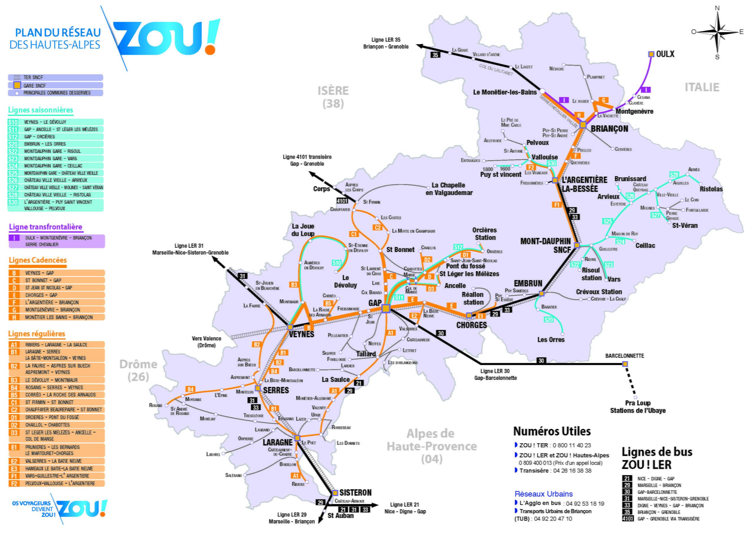 Plan des lignes ZOU! Hautes-Alpes - Montgenèvre