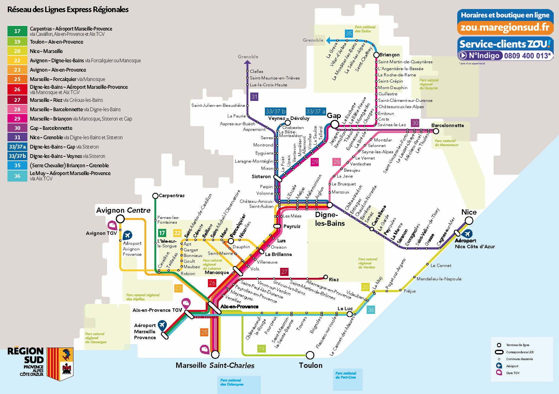 Plan des lignes ZOU! Lignes express régionales - Montgenèvre
