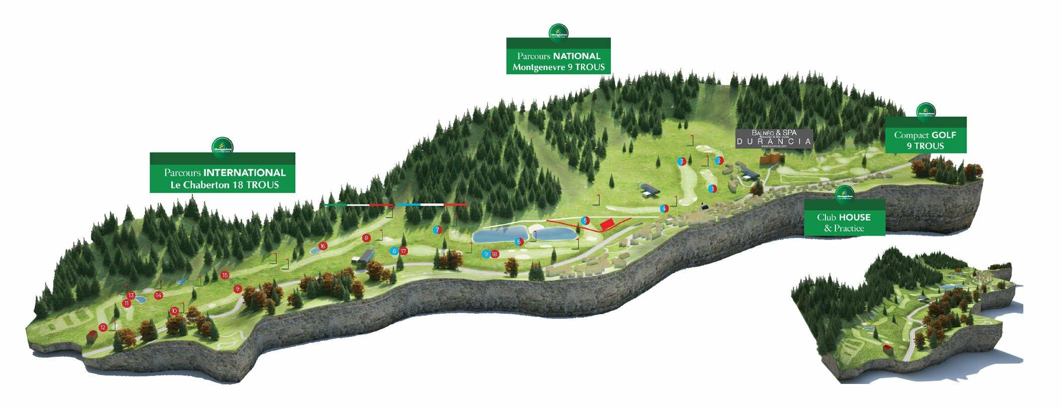 Plan 3D du Golf International de Montgenèvre © Office de Tourisme de Montgenèvre